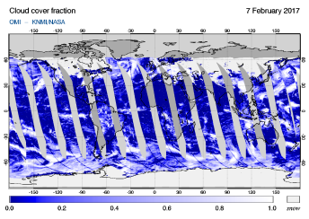 OMI - Cloud cover fraction of 07 February 2017