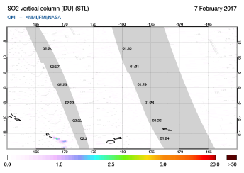 OMI - SO2 vertical column of 07 February 2017