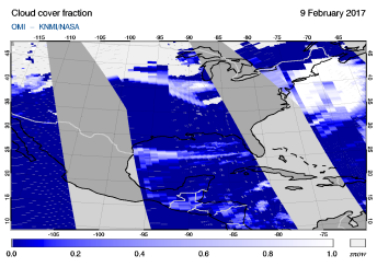 OMI - Cloud cover fraction of 09 February 2017