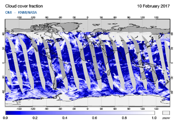 OMI - Cloud cover fraction of 10 February 2017