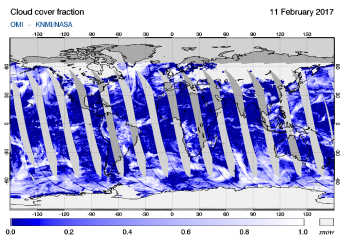 OMI - Cloud cover fraction of 11 February 2017