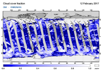OMI - Cloud cover fraction of 12 February 2017