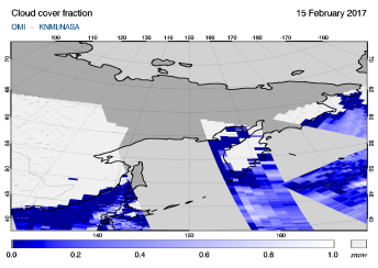 OMI - Cloud cover fraction of 15 February 2017