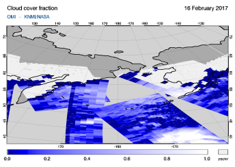 OMI - Cloud cover fraction of 16 February 2017