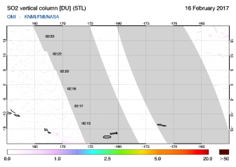 OMI - SO2 vertical column of 16 February 2017