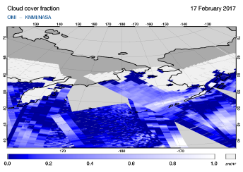 OMI - Cloud cover fraction of 17 February 2017