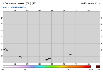 OMI - SO2 vertical column of 19 February 2017