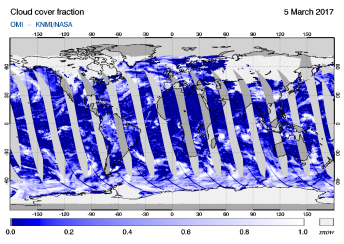 OMI - Cloud cover fraction of 05 March 2017