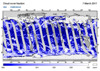 OMI - Cloud cover fraction of 07 March 2017