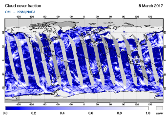 OMI - Cloud cover fraction of 08 March 2017