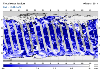 OMI - Cloud cover fraction of 09 March 2017