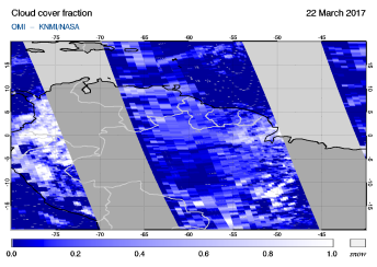 OMI - Cloud cover fraction of 22 March 2017