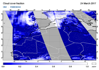 OMI - Cloud cover fraction of 24 March 2017