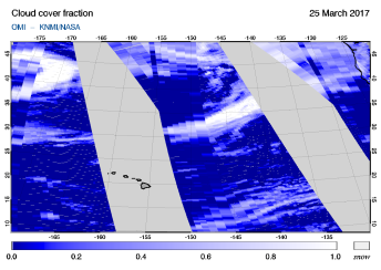 OMI - Cloud cover fraction of 25 March 2017