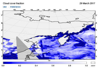 OMI - Cloud cover fraction of 29 March 2017