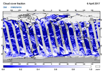 OMI - Cloud cover fraction of 06 April 2017