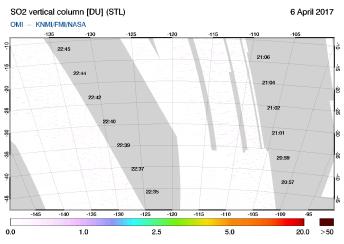 OMI - SO2 vertical column of 06 April 2017