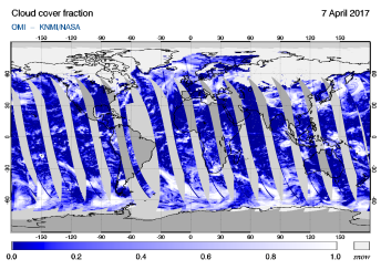 OMI - Cloud cover fraction of 07 April 2017