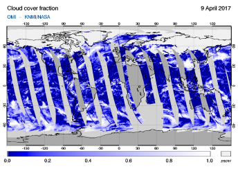 OMI - Cloud cover fraction of 09 April 2017