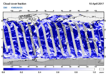 OMI - Cloud cover fraction of 10 April 2017