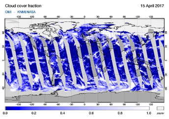 OMI - Cloud cover fraction of 15 April 2017
