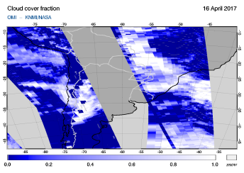 OMI - Cloud cover fraction of 16 April 2017