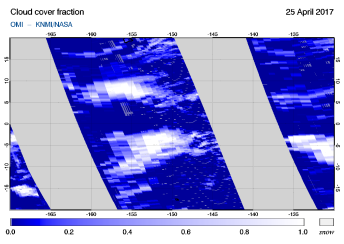 OMI - Cloud cover fraction of 25 April 2017