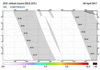 OMI - SO2 vertical column of 26 April 2017