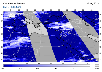 OMI - Cloud cover fraction of 02 May 2017