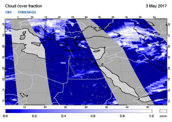 OMI - Cloud cover fraction of 03 May 2017