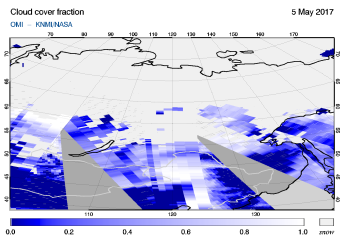 OMI - Cloud cover fraction of 05 May 2017