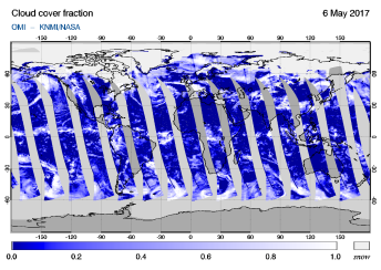 OMI - Cloud cover fraction of 06 May 2017