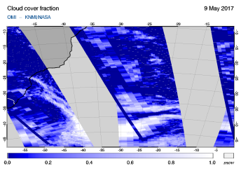 OMI - Cloud cover fraction of 09 May 2017
