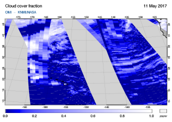 OMI - Cloud cover fraction of 11 May 2017