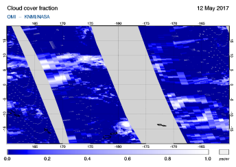 OMI - Cloud cover fraction of 12 May 2017