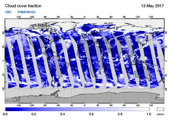 OMI - Cloud cover fraction of 13 May 2017