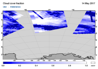 OMI - Cloud cover fraction of 14 May 2017