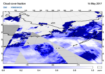 OMI - Cloud cover fraction of 15 May 2017