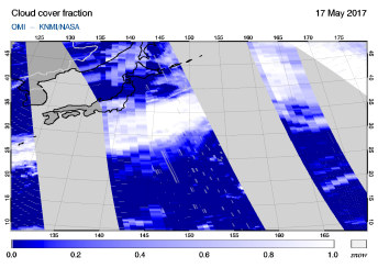 OMI - Cloud cover fraction of 17 May 2017