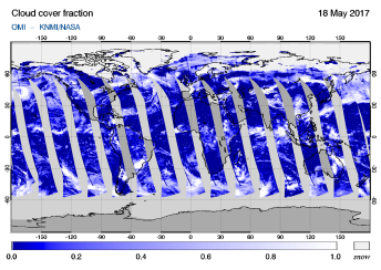 OMI - Cloud cover fraction of 18 May 2017