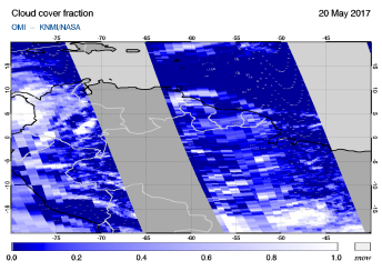 OMI - Cloud cover fraction of 20 May 2017
