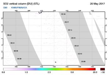OMI - SO2 vertical column of 20 May 2017