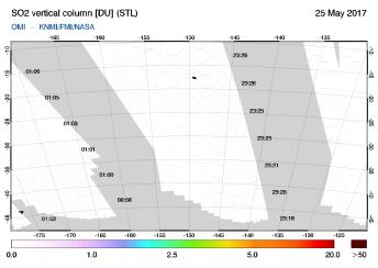 OMI - SO2 vertical column of 25 May 2017