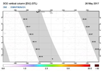 OMI - SO2 vertical column of 26 May 2017