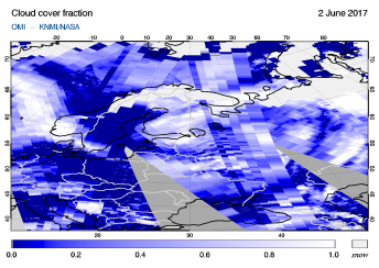 OMI - Cloud cover fraction of 02 June 2017