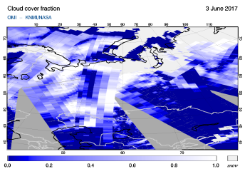 OMI - Cloud cover fraction of 03 June 2017