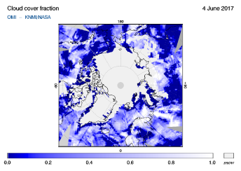 OMI - Cloud cover fraction of 04 June 2017