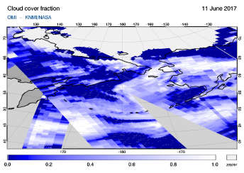 OMI - Cloud cover fraction of 11 June 2017