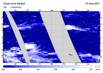 OMI - Cloud cover fraction of 13 June 2017