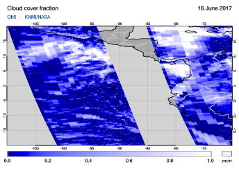OMI - Cloud cover fraction of 16 June 2017